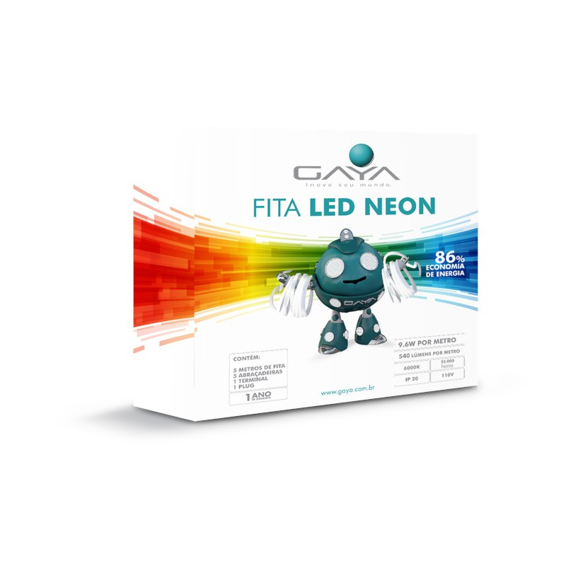 Fita LED Neon Gaya 9007 110V 9,6W 6000K IP65 Rolo de 5 Metros