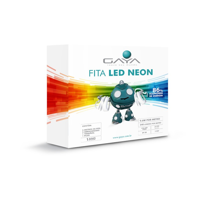 Fita LED Neon Gaya 9010 110V 9,6W Verde IP65 Rolo de 5 Metros