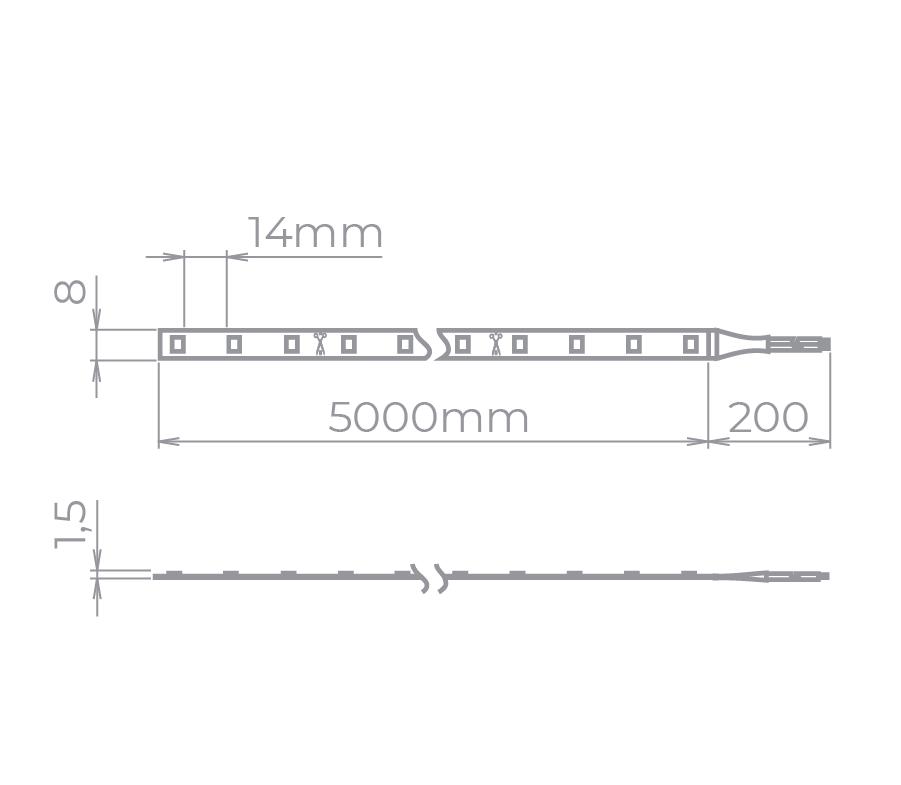 Fita LED Stella STH6800/AB Color Rolo 5 Metros 6W/M Âmbar 12V IP20