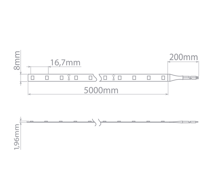 Fita LED Stella STH6805/27 Evo Rolo 5 Metros 6W/M 2700K 12V IP65