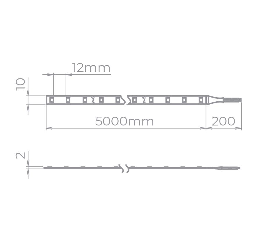 Fita LED Stella STH6815/27 Evo Rolo 5 Metros 12W/M 2700K 12V IP65