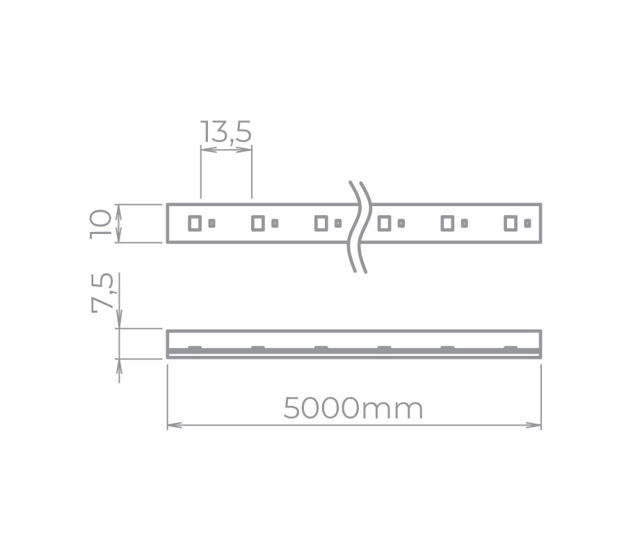 Fita LED Stella STH7801/57 Kite Tensão De Rede Single Line 5 Metros 5W/M 5700K 127V IP67