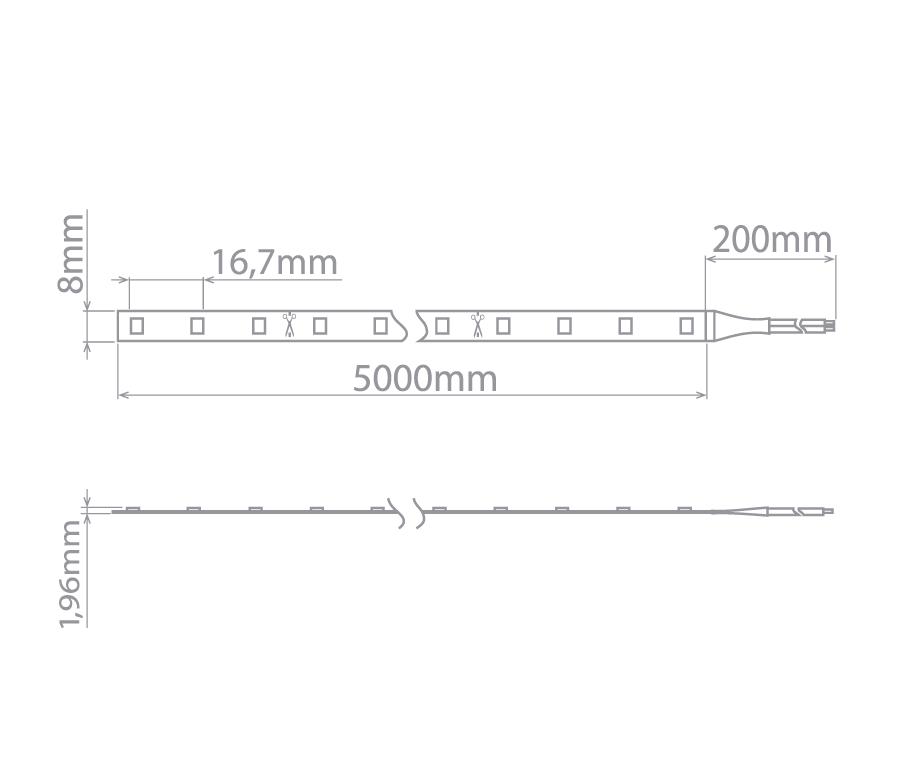 Fita LED Stella STH8800/30 Evo Rolo 5 Metros 6W/M 3000K 12V IP20