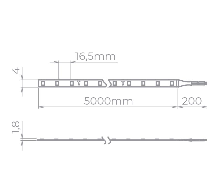 Fita LED Stella STH8840/27 Mini Rolo 5 Metros 4,5W/m 2700K 24V IP20