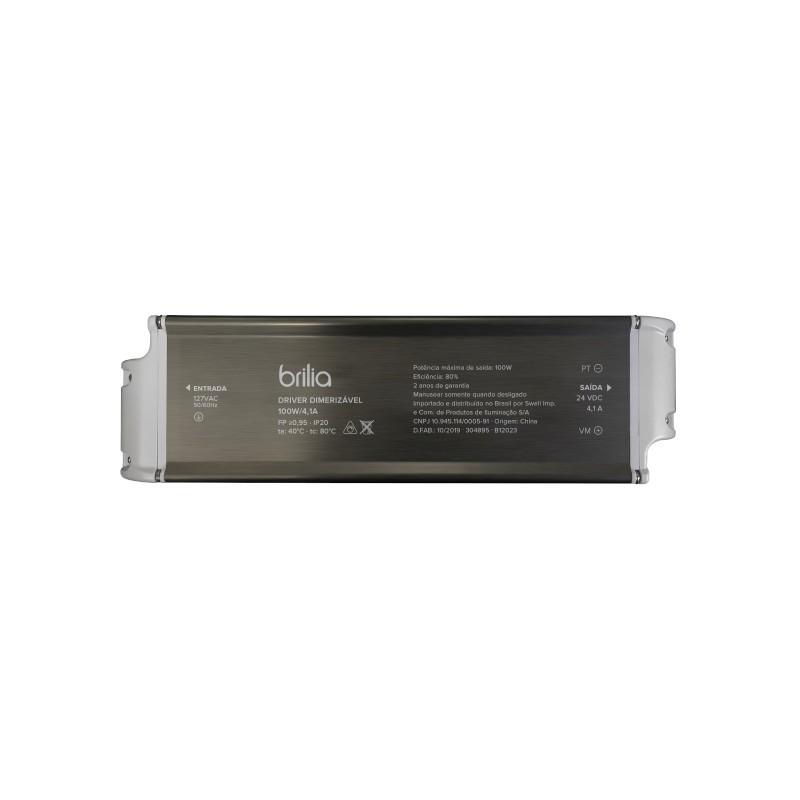 Fonte/Driver LED Brilia 305458 Dimerizável 100W 24V 4,1A IP20 220V 235x68x40mm