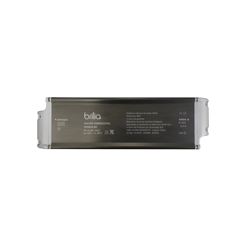 Fonte/Driver LED Brilia 305496 Dimerizável 100W 12V 8,3A IP20 220V 235x68x40mm