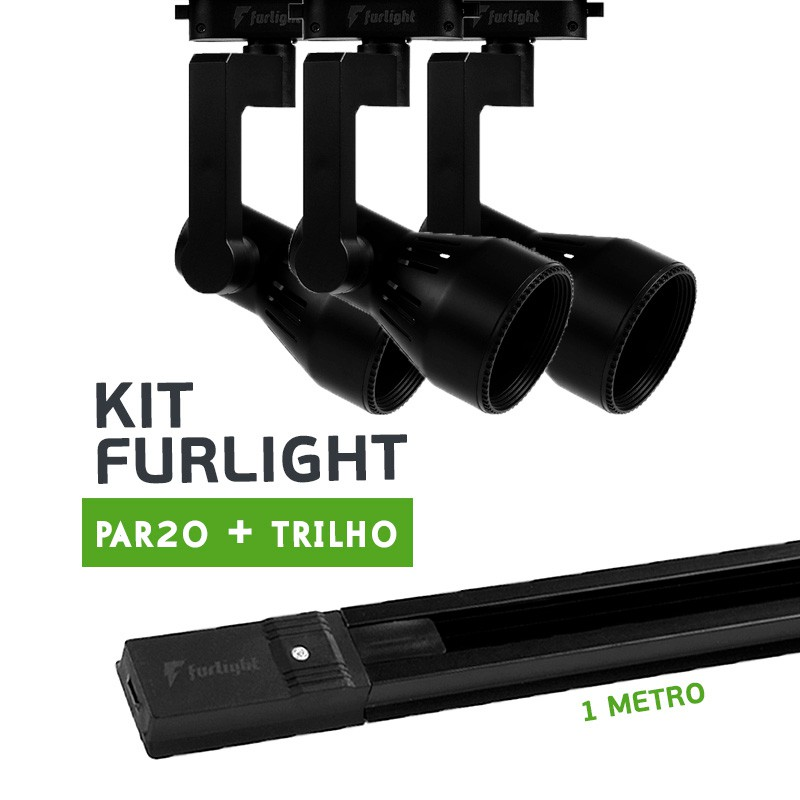 Kit Furlight Trilho 100cm com 3 Spots PAR20 Preto
