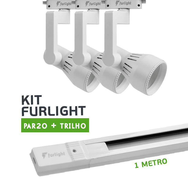 Kit Furlight Trilho 100cm com 3 Spots PAR20 Branco