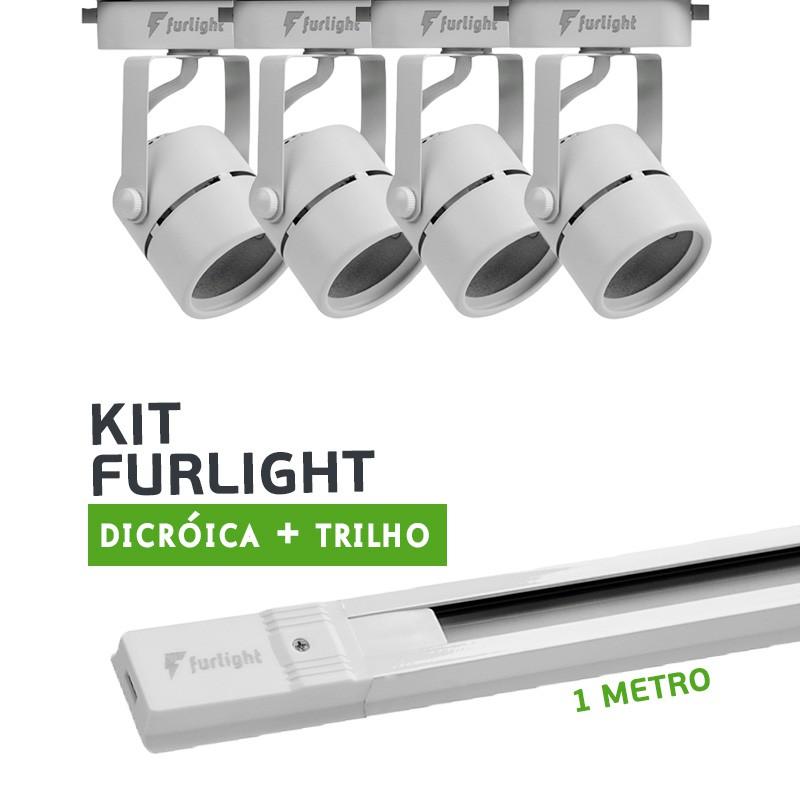 Kit Furlight Trilho 100cm com 4 Spots Dicróica/PAR16 Branco
