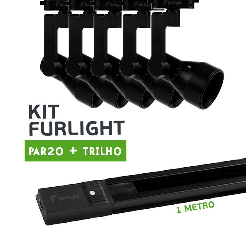 Kit Furlight Trilho 100cm com 5 Spot PAR20 Preto