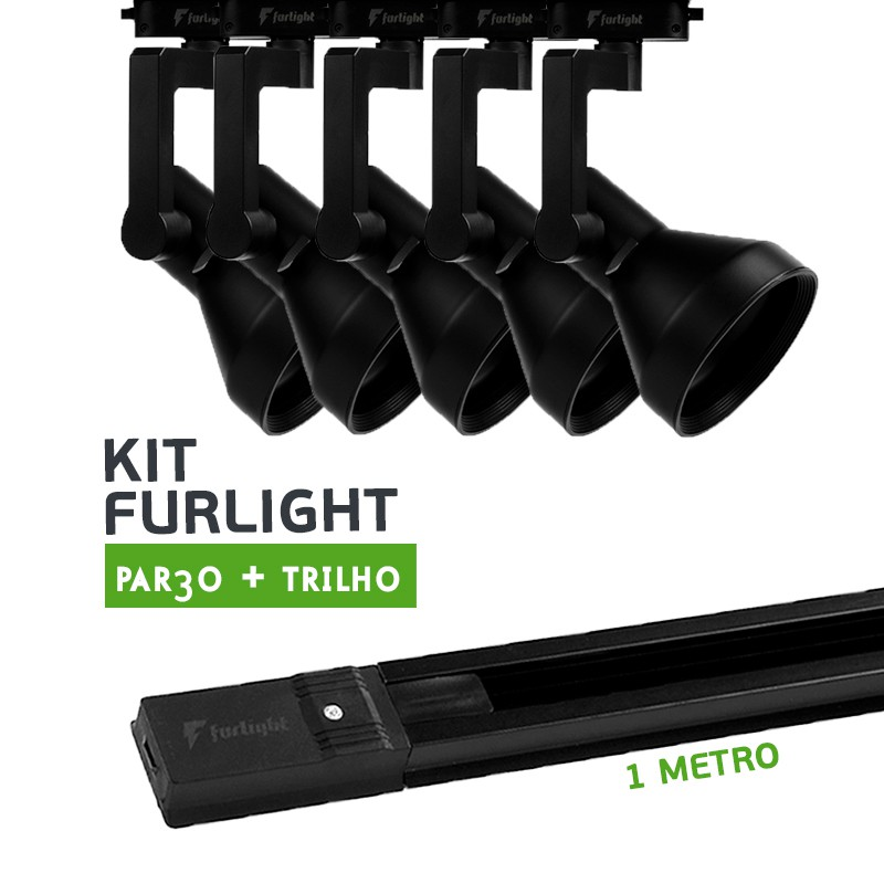 Kit Furlight Trilho 100cm com 5 Spots PAR30 Preto