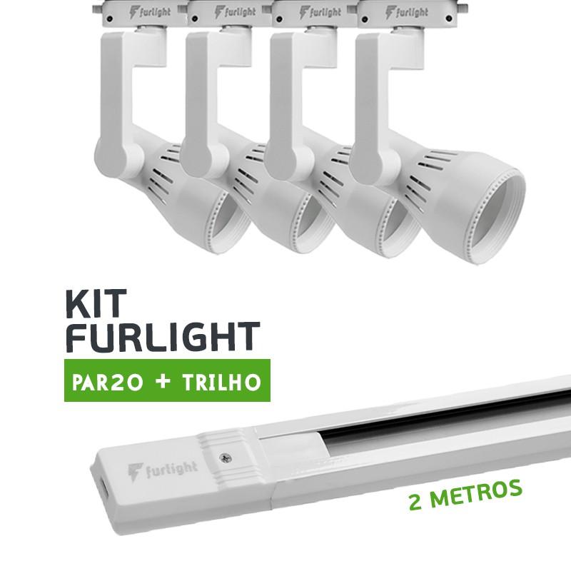 Kit Furlight Trilho 200cm com 4 Spot PAR20 Branco