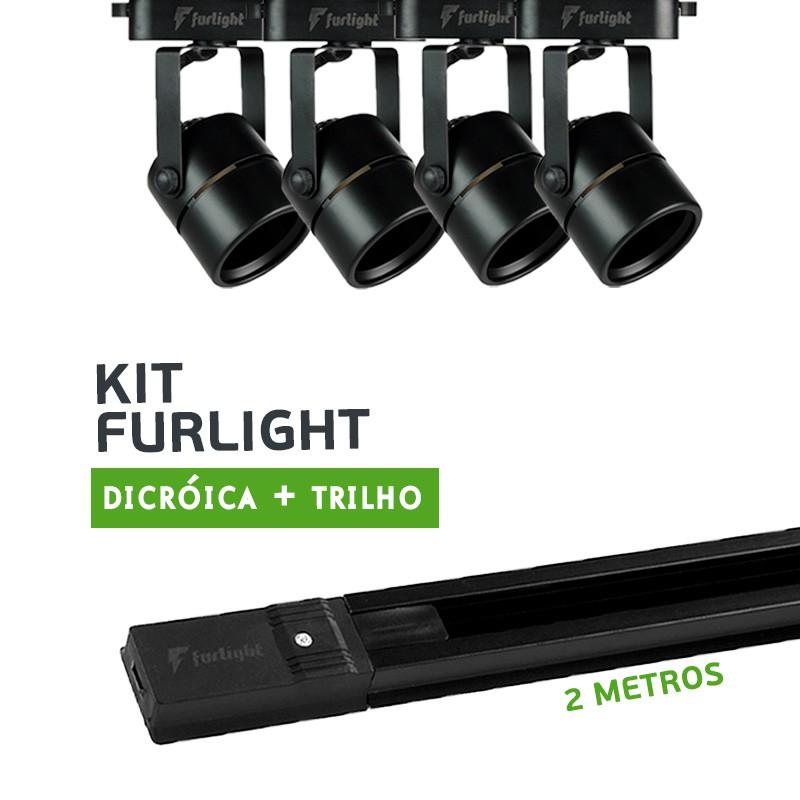 Kit Furlight Trilho 200cm com 4 Spots Dicróica/PAR16 Preto