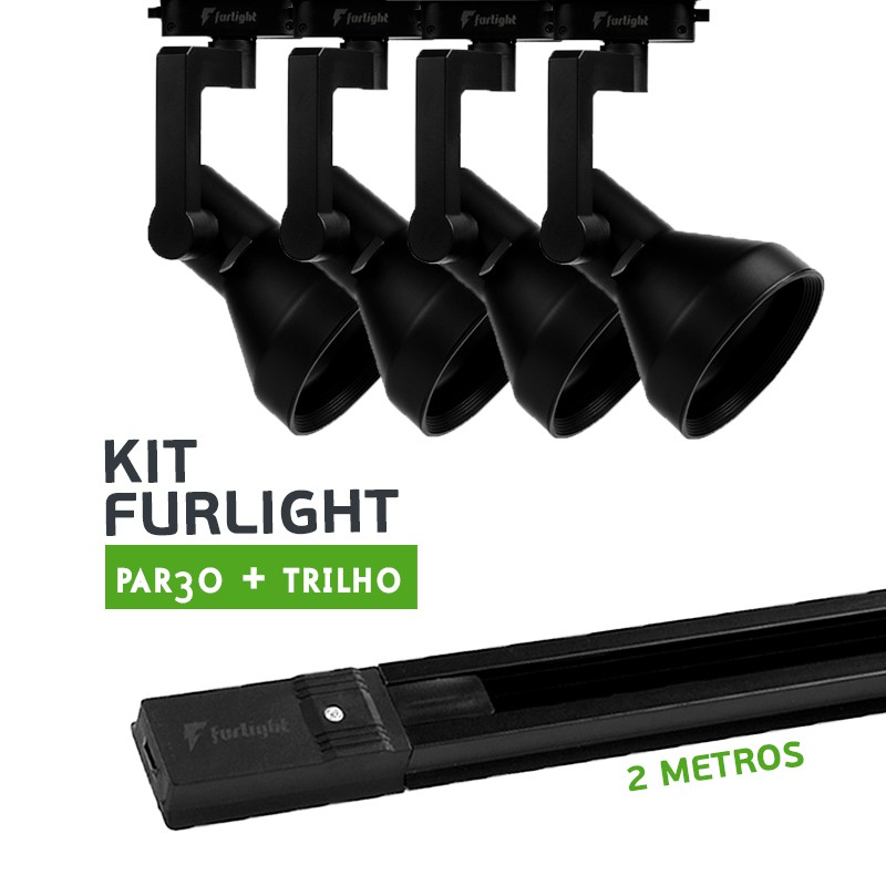 Kit Furlight Trilho 200cm com 4 Spots PAR30 Preto