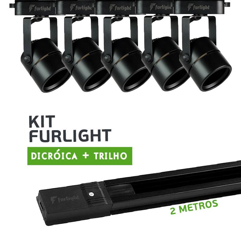Kit Furlight Trilho 200cm com 5 Spots Dicróica/PAR16 Preto