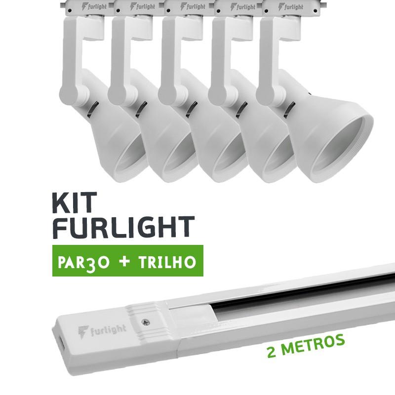 Kit Furlight Trilho 200cm com 5 Spots PAR30 Branco