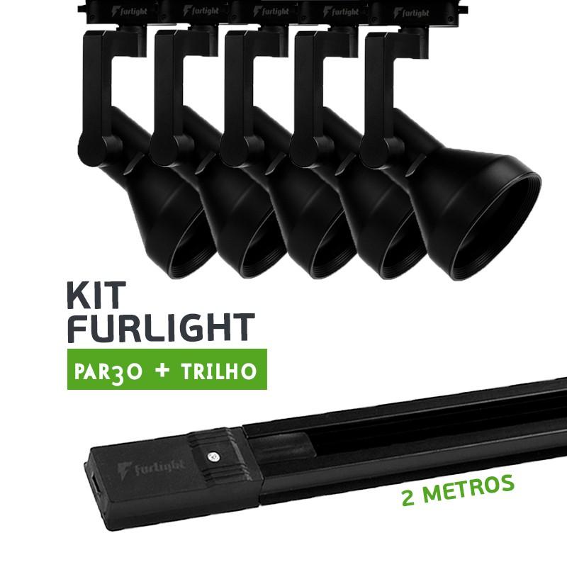 Kit Furlight Trilho 200cm com 5 Spots PAR30 Preto