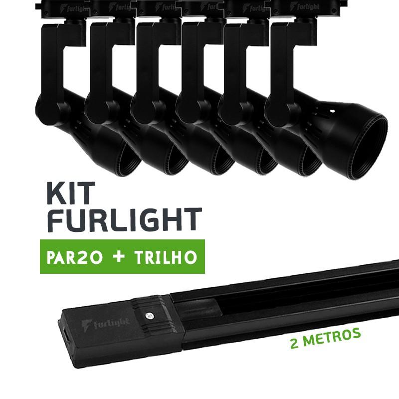 Kit Furlight Trilho 200cm com 6 Spot PAR20 Preto