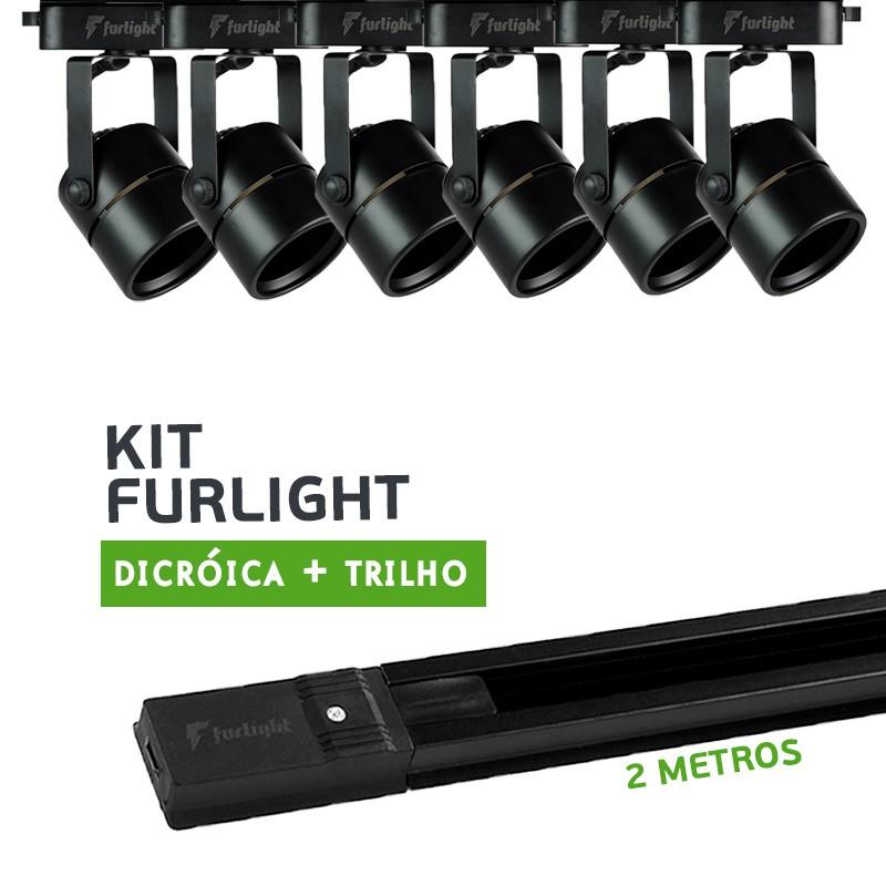 Kit Furlight Trilho 200cm com 6 Spots Dicróica/PAR16 Preto