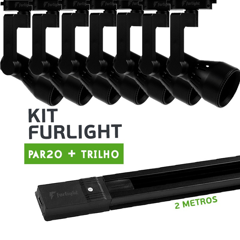 Kit Furlight Trilho 200cm com 7 Spot PAR20 Preto