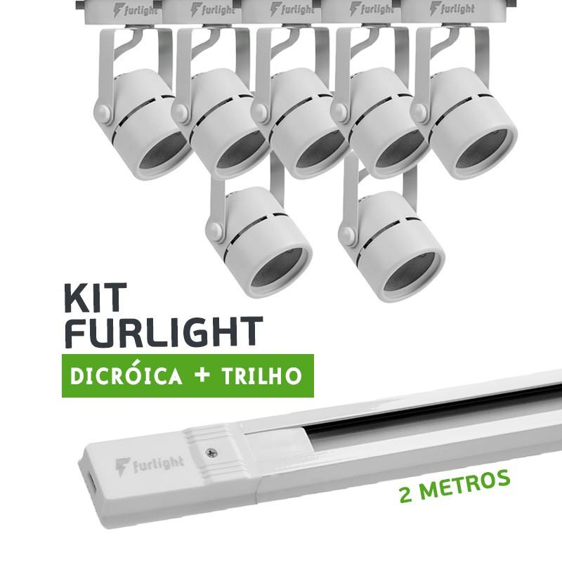 Kit Furlight Trilho 200cm com 7 Spots Dicróica/PAR16 Branco