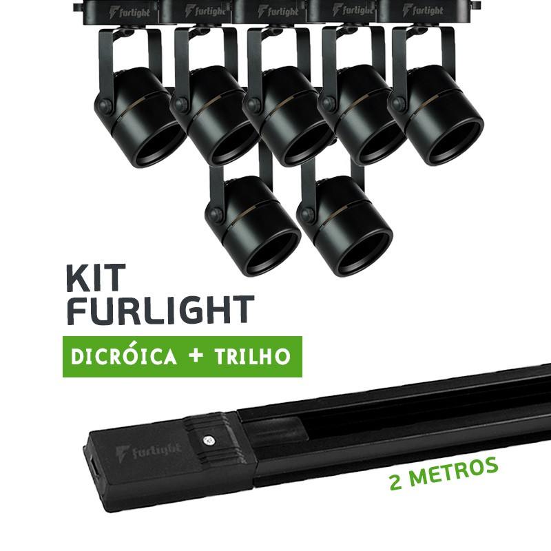 Kit Furlight Trilho 200cm com 7 Spots Dicróica/PAR16 Preto