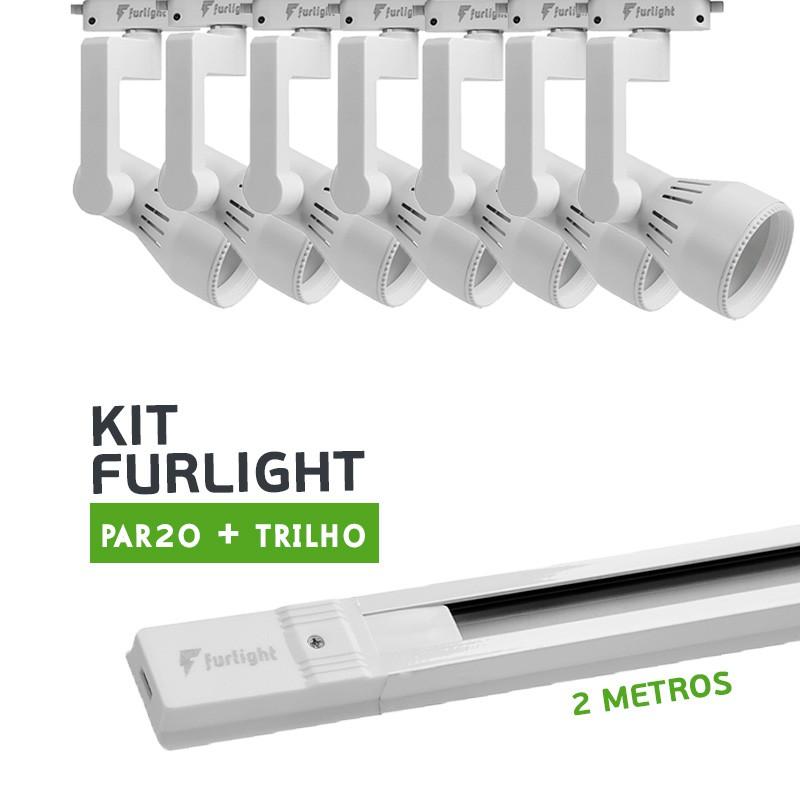 Kit Furlight Trilho 200cm com 7 Spots PAR20 Branco