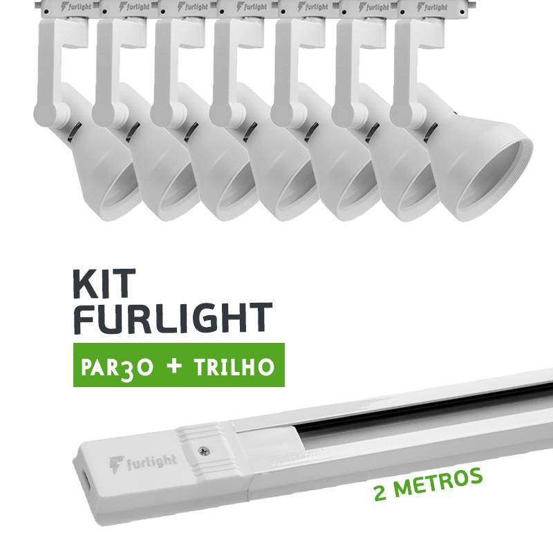 Kit Furlight Trilho 200cm com 7 Spots PAR30 Branco