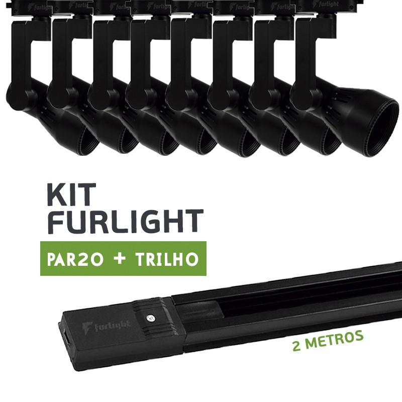 Kit Furlight Trilho 200cm com 8 Spot PAR20 Preto