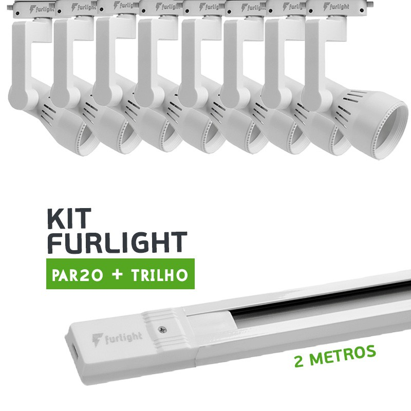 Kit Furlight Trilho 200cm com 8 Spots PAR20 Branco