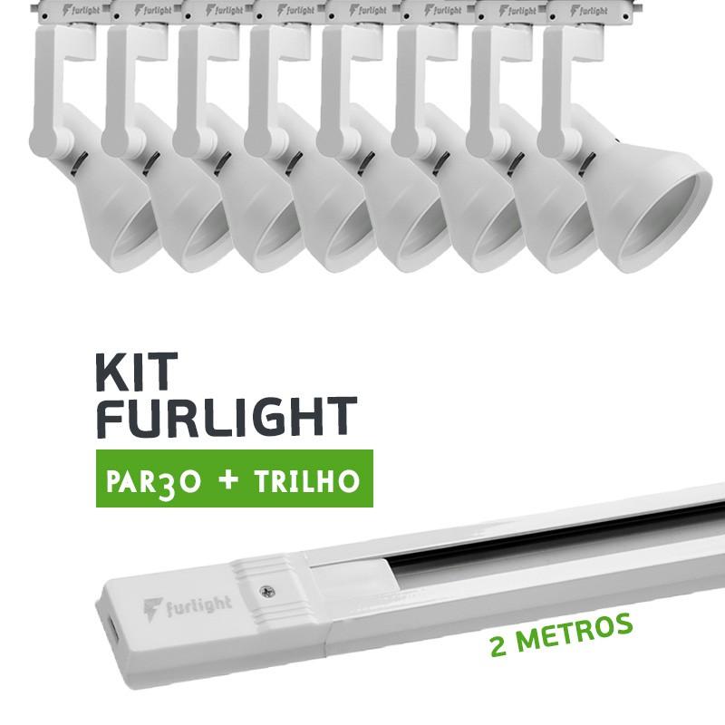 Kit Furlight Trilho 200cm com 8 Spots PAR30 Branco