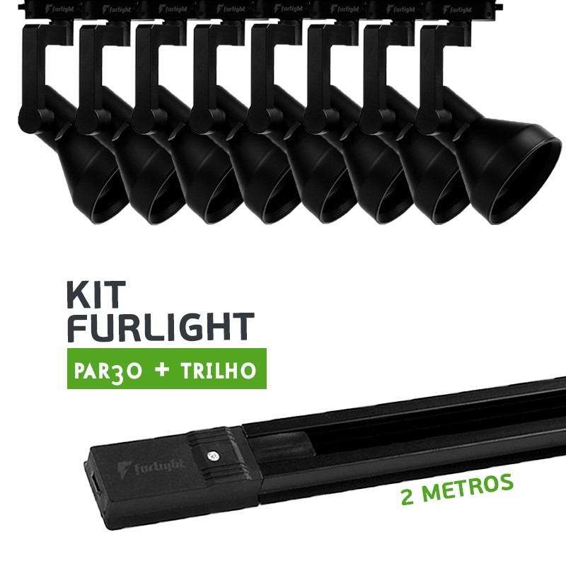 Kit Furlight Trilho 200cm com 8 Spots PAR30 Preto