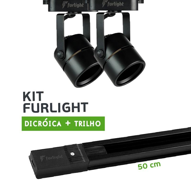 Kit Furlight Trilho 50cm com 2 Spots Dicróica/PAR16 Preto