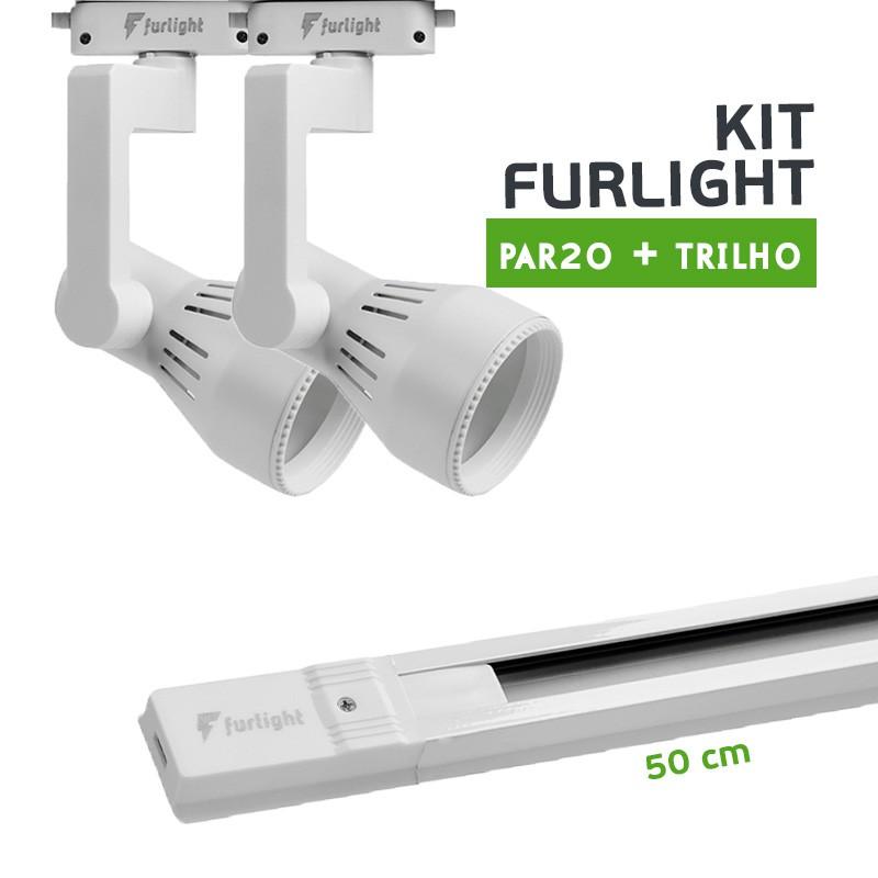 Kit Furlight Trilho 50cm com 2 Spots PAR20 Branco