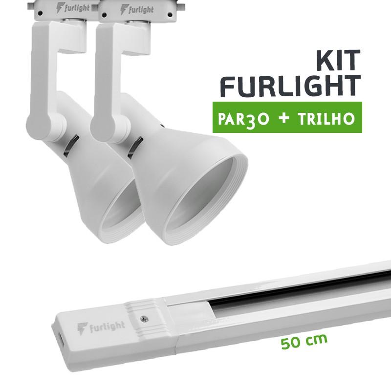 Kit Furlight Trilho 50cm com 2 Spots PAR30 Branco