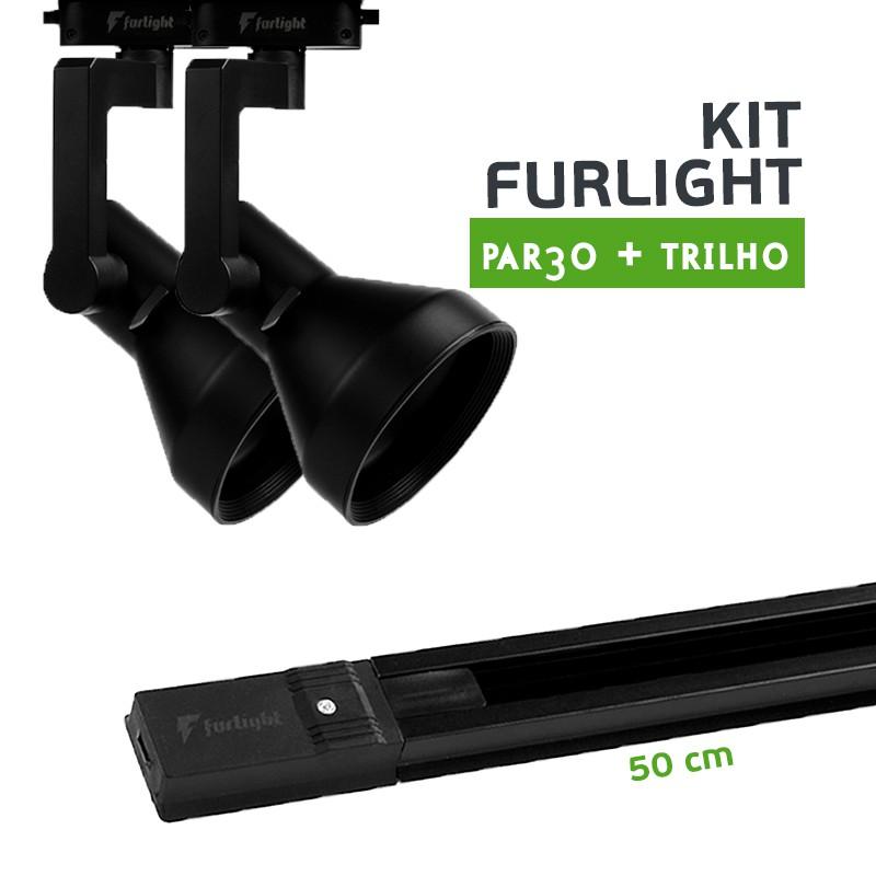 Kit Furlight Trilho 50cm com 2 Spots PAR30 Preto