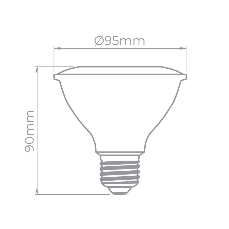 Lâmpada LED Stella STH20030/27 Evo PAR30 E27 9W 2700K 25G Bivolt Ø95x90mm