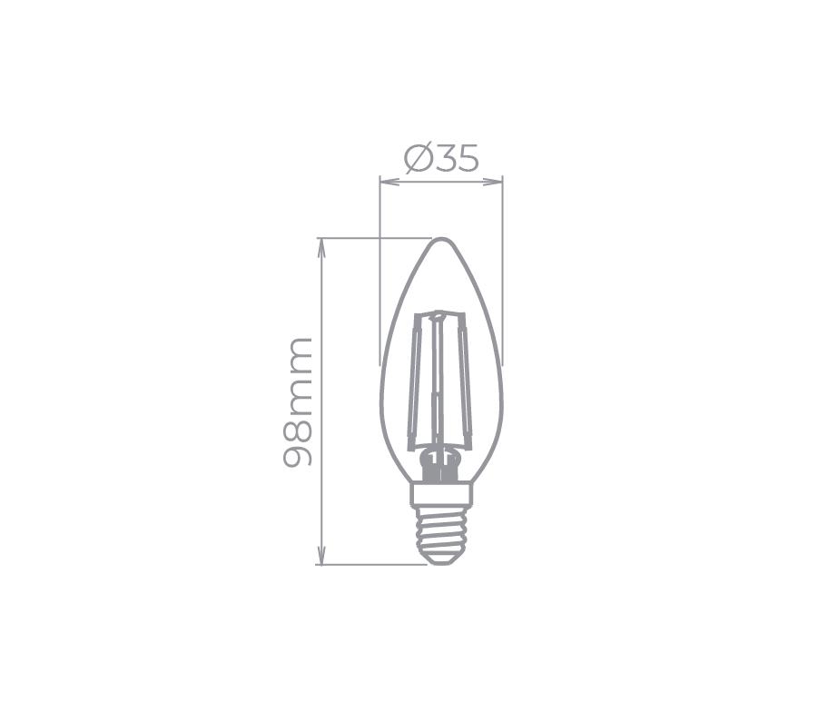 Lâmpada LED Stella STH6302/24 Vela Lisa Filamento E14 2W 2400K 220V