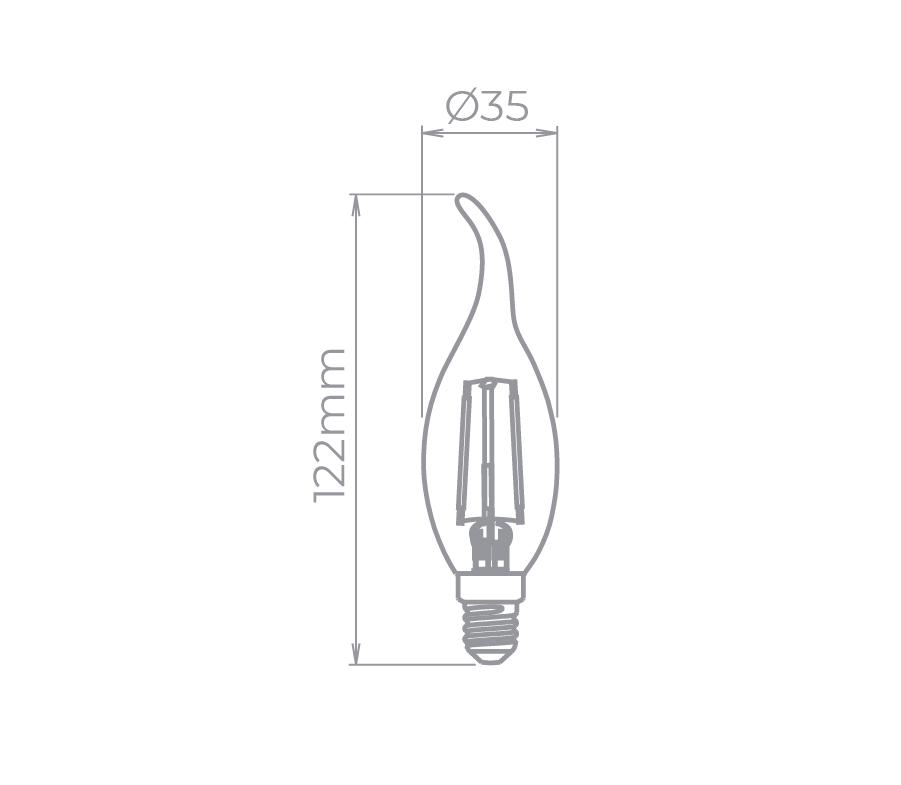 Lâmpada LED Stella STH6312/24 Vela Chama Filamento E14 2W 2400K 220V