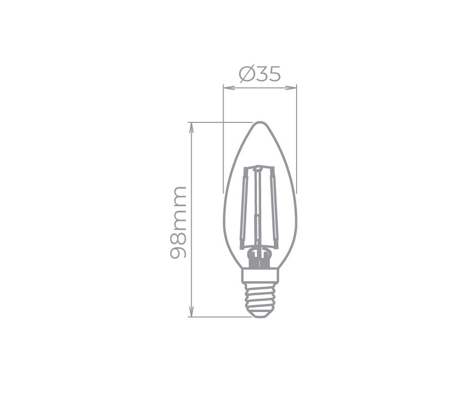 Lâmpada LED Stella STH6322/24 Vela Lisa Filamento Vintage E14 2W 2400K 220V