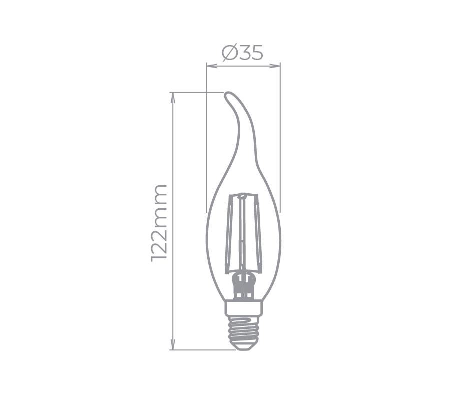 Lâmpada LED Stella STH6332/24 Vela Chama Filamento Vintage E14 2W 2400K 220V