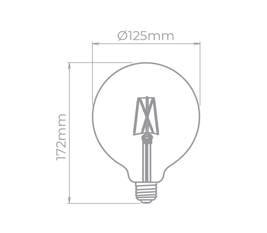 Lâmpada LED Stella STH6337/24 G125 Balloon Filamento Vintage E27 2W 2400K Bivolt
