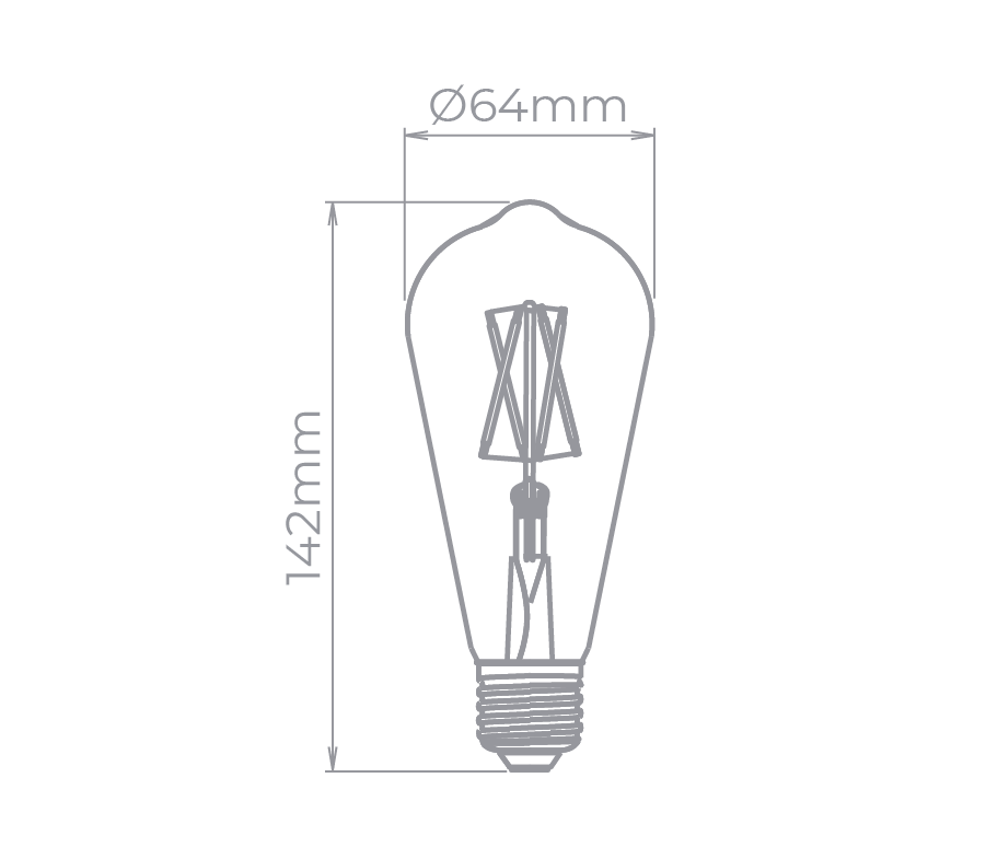 Lâmpada Led Stella STH7212/27 ST64 Filamento E27 4W 2700K Bivolt 360G Certificada