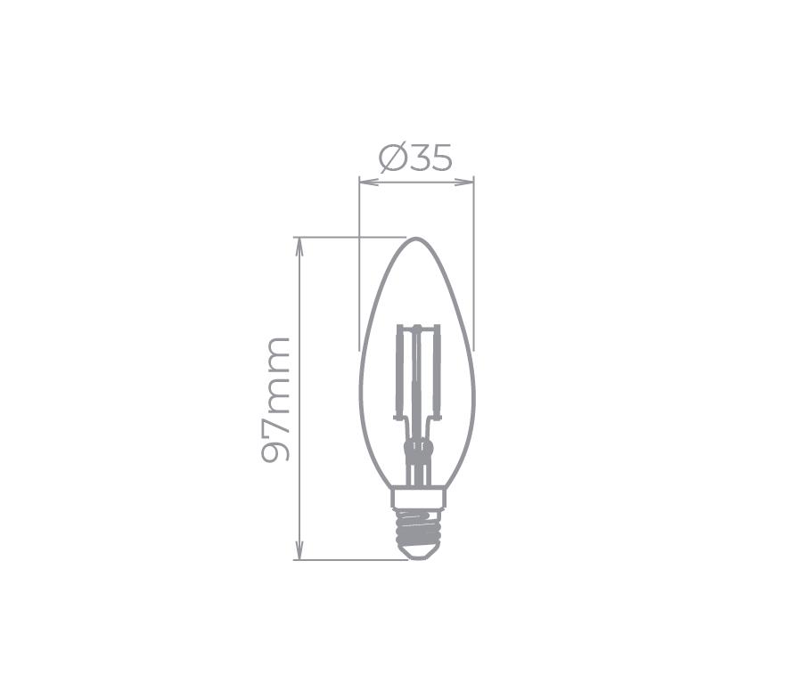 Lâmpada Led Stella STH7301/27 Vela Lisa Filamento E14 2W 2700K 360G 127V Certificada