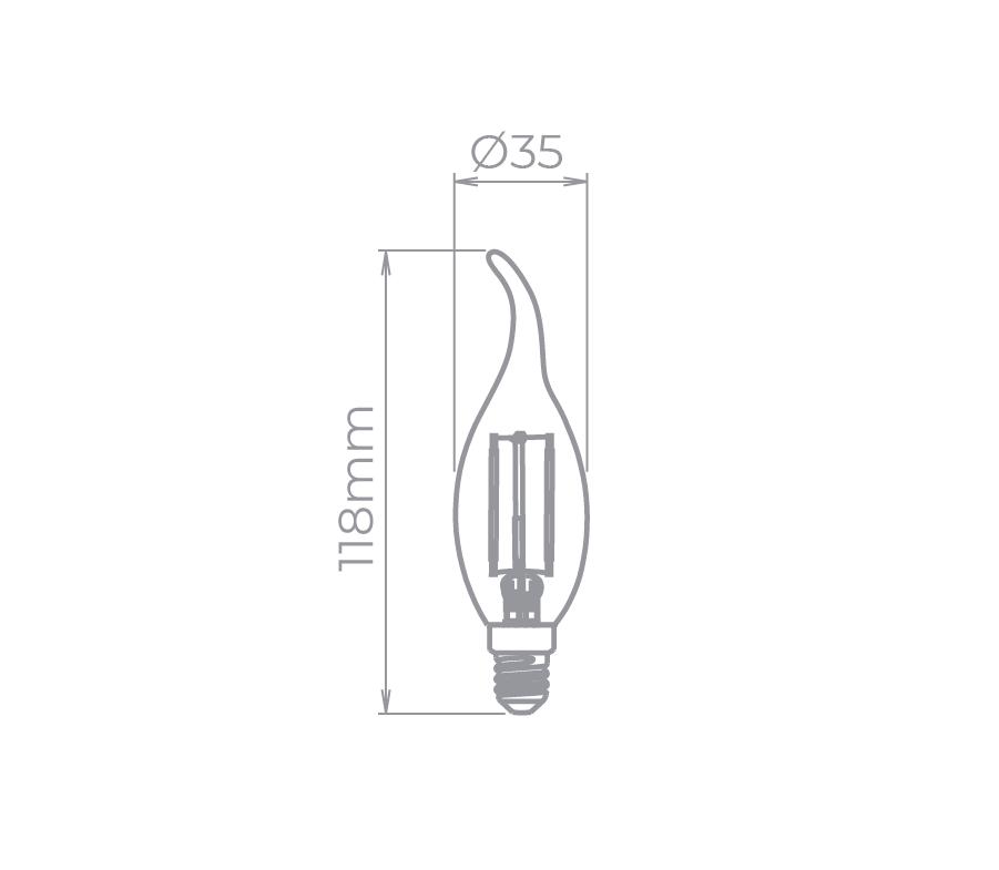 Lâmpada Led Stella STH7312/27 Vela Chama Filamento E14 2W 2700K 220V Certificada