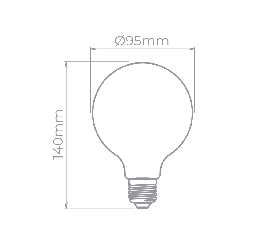 Lâmpada Led Stella STH8226/27 Balloon Filamento G95 Leitosa Milky E27 4W 2700K 300G Bivolt