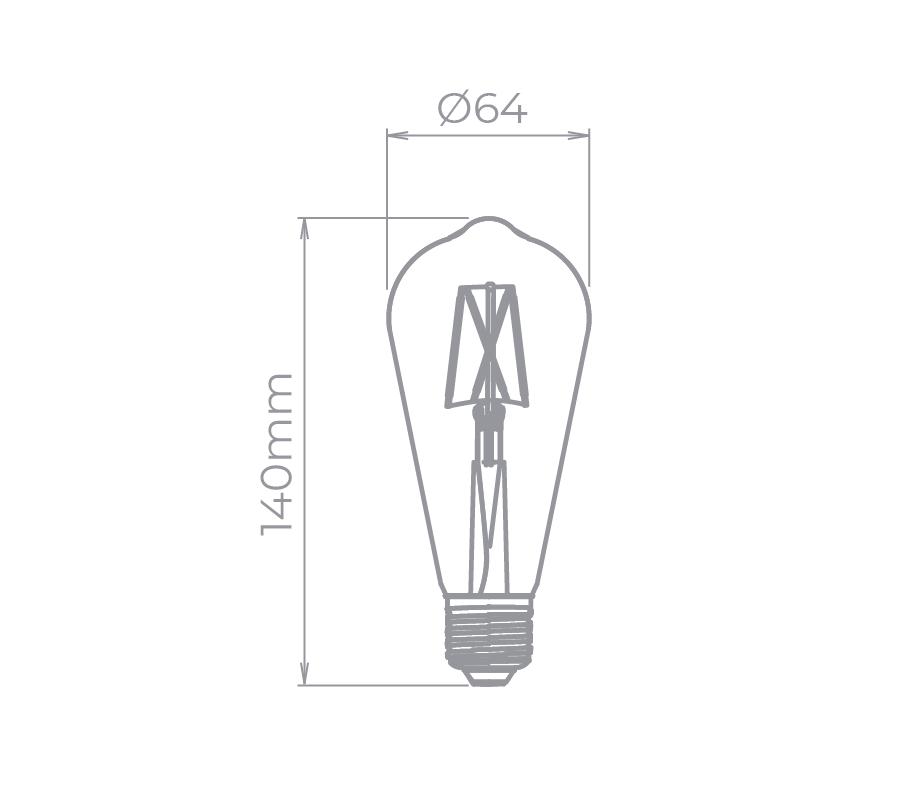 Lâmpada Led Stella STH8272/24 ST64 Dimerizável Filamento Vintage E27 4,5W 2400K 300G 220V