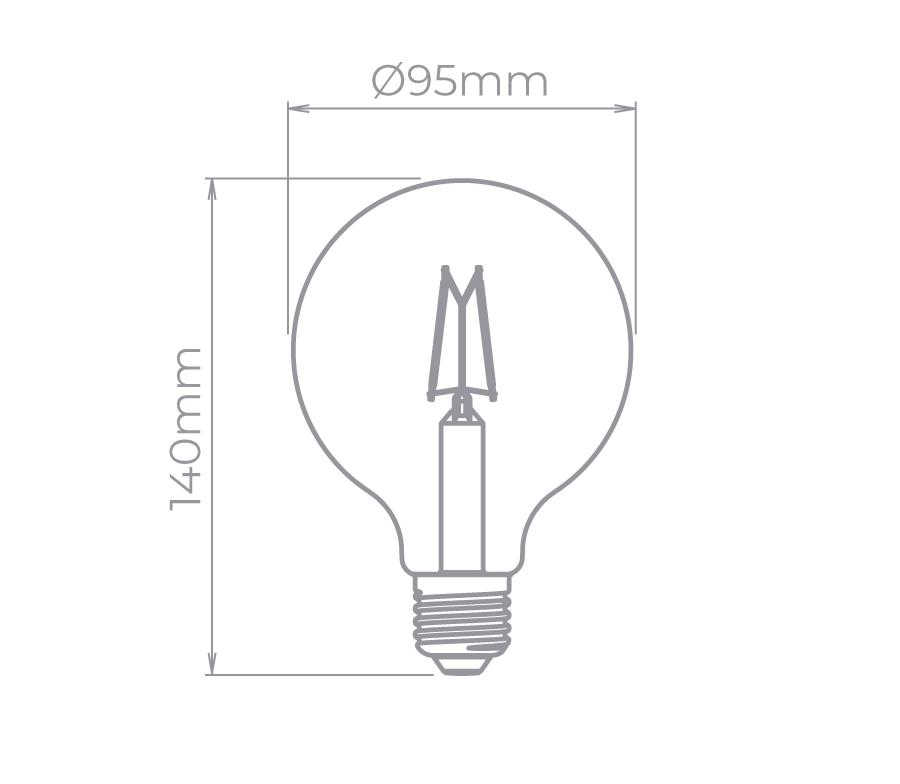Lâmpada Led Stella STH8282/24 G95 Balloon Dimerizável Filamento Vintage E27 4,5W 2400K 220V