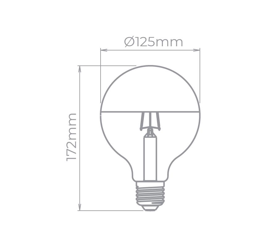 Lâmpada Led Stella STH8290/24 Balloon Defletora G125 Filamento E27 7W 2400K 190G Bivolt