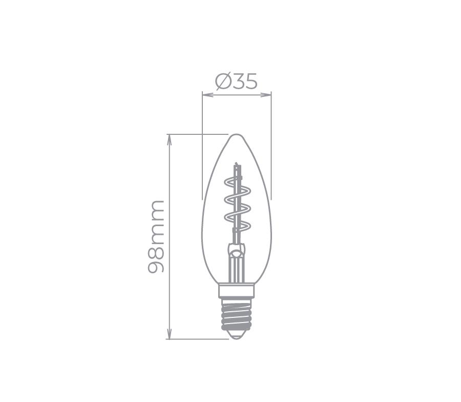 Lâmpada Led Stella STH8381/24 Vela Lisa Filamento Vintage Espiral E14 2,5W 2400K 300G 127V